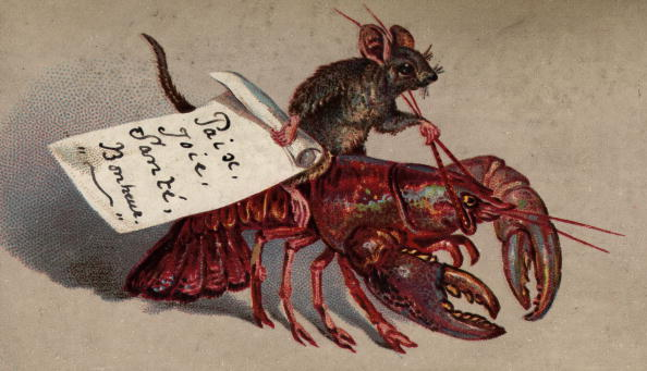 circa 1880: A mouse rides a lobster on this Victorian Christmas greetings card. The card wishes the recipient 'Paix, Joie, Sante, Bonheur' or 'Peace, Joy, Health and Happiness'. (Photo by Hulton Archive/Getty Images)