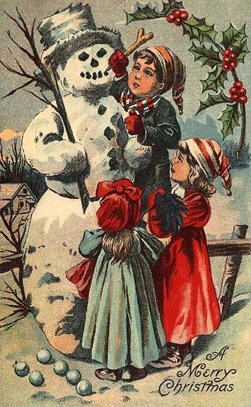 victorian-christmas-card-snowman